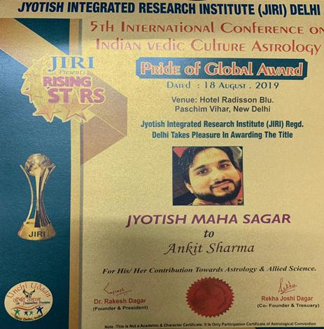 Jyotish Maha Sagar Certificate