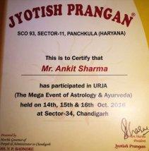 Jyotish Prangan Certificate